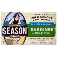 Season Skinless & Boneless Sardines In Olive Oil, 6 x 4.375 oz
