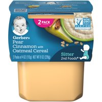 Gerber 2nd Foods Pear Cinnamon with Oatmeal Baby Food 4 oz. Tubs 2 Count