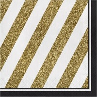48ct Striped Disposable Napkins Black