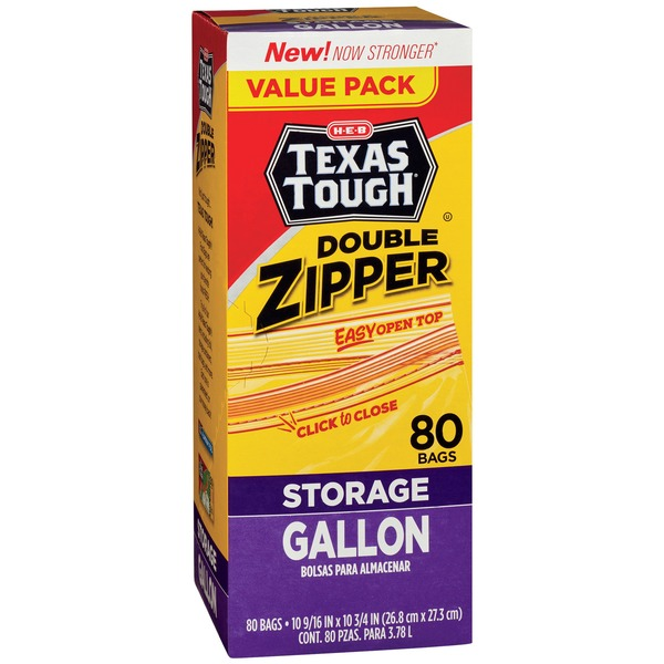 Texas Tough Double Zipper Gallon Storage Bags