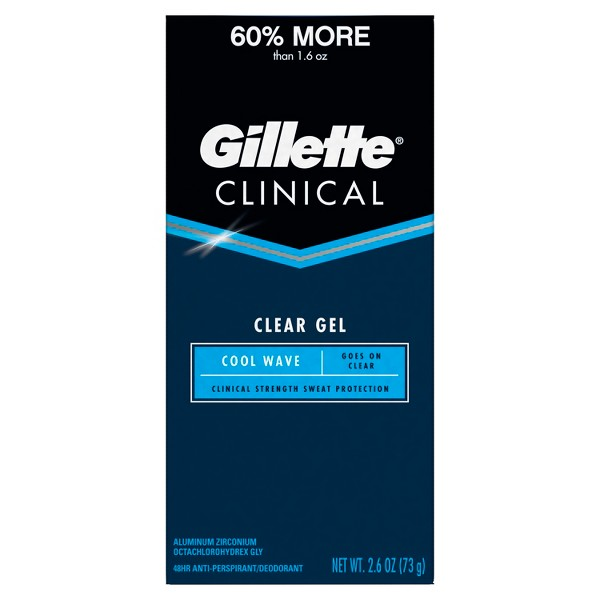 Gillette Clinical Cool Wave Clear Gel Antiperspirant and Deodorant - 2.6oz