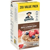 Quaker Instant Oatmeal, Maple & Brown Sugar Value Pack, 20 Packets