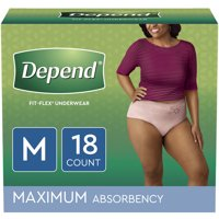 Depend FIT-FLEX Incontinence Underwear for Women, Maximum Absorbency, M, Blush, 18 Count