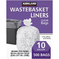 Kirkland Signature Clear Wastebasket Liners, 500 x 10 gal