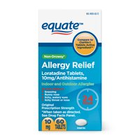 Equate Loratadine Tablets 10 mg, Allergy Relief, 60 Count