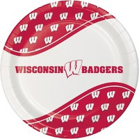 24ct Wisconsin Badgers Paper Plates Red