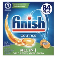 Finish Gelpacs 84ct, Fast Action, Deep Clean, Orange Scent, Dishwasher Detergent Tablets