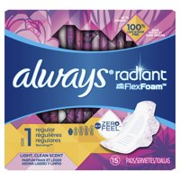 ALWAYS Radiant Regular Sanitary Pads Size 1 Light Clean Scent With Wings, 15 Count