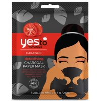 Yes To Tomatoes Detoxifying Charcoal Paper Mask Single Use Charcoal Face Mask 0.67 Oz