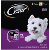 (24 Pack) CESAR Wet Dog Food Classic Loaf in Sauce Filet Mignon Flavor Multipack, 3.5 oz. Easy Peel Trays