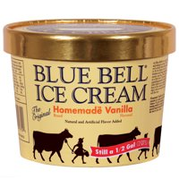 Blue Bell Gold Rim, Homemade Vanilla Ice Cream, 64 OZ