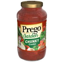 Prego Pasta Sauce, Garden Harvest ChunkyTomato Sauce Combo with Zucchini, Carrots, and Green Peppers, 23.75 Ounce Jar