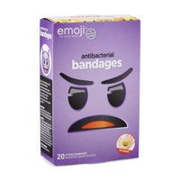 Emoji Kids Antibacterial Bandages, Assorted Shapes and Sizes, 20 count