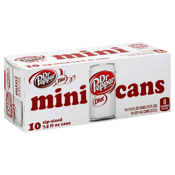 Dr Pepper Soda, Diet, Sip-Sized Cans
