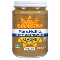 MaraNatha No Sugar or Salt Added Creamy Almond Butter, 12 Ounce Jar