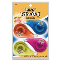 BIC Wite-Out Brand EZ Correct Correction Tape, White, 4 Count