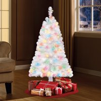 Holiday Time Pre-Lit 4' Indiana Spruce White Artificial Christmas Tree, Multi-Lights