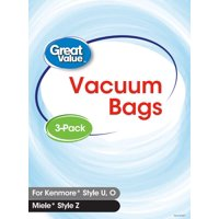 Great Value Kenmore U/O/5068 & Miele Style Z Premium Vacuum Bag, 3-Pack, 2377