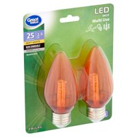 Great Value LED 2.5 Watts Deco Multi Use Soft White Medium Base Bulbs, 2 count