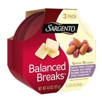 Sargento® Balanced Breaks®, Natural White Cheddar Cheese, Sea-Salted Roasted Almonds and Dried Cranberries, One.Five oz., Three-Pack