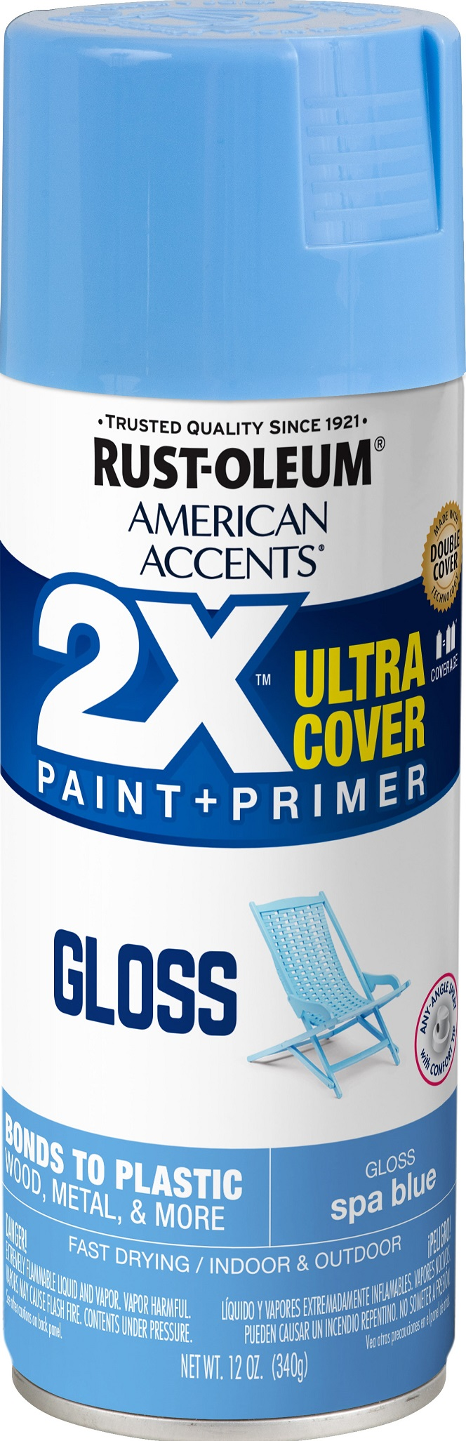 (3 Pack) Rust-Oleum American Accents Ultra Cover 2X Gloss Spa Blue Spray Paint and Primer in 1, 12 oz