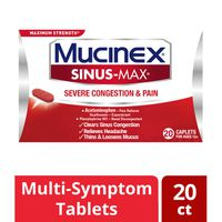 Mucinex® Maximum Strength Sinus-Max Severe Congestion Relief Caplets, Clears Sinus & Nasal Congestion, Relieves Headache & Fever, Thins & Loosens Mucus