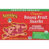 Annie's Homegrown Bunny Fruit Snacks, Organic, Summer Strawberry