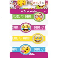 Rubber Emoji Bracelet Party Favors, 4ct