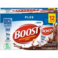 Boost Plus Nutritional Drink, Rich Chocolate, 14g Protein, 8 Fl Oz, 12 Ct