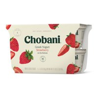 Chobani® Non-Fat Greek Yogurt, Strawberry on the Bottom 5.3oz, 4-pack