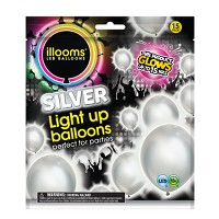 15ct Silver LED Light Up Balloons - illooms