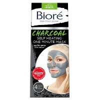Biore Self Heating One Minute Face Mask - Natural Charcoal - 4ct