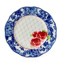 """The Pioneer Woman 10.5"""" Blue & White Heritage Floral Print Dinner Plate"""