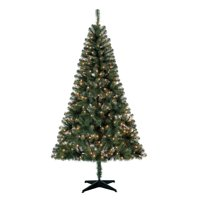 Holiday Time Pre-Lit 6.5' Madison Pine Green Artificial Christmas Tree, Clear-Lights