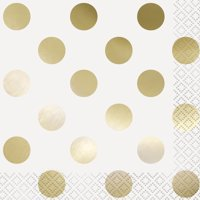 Foil Gold Polka Dot Party Lunch Napkins, 16ct