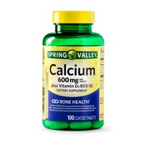 Spring Valley Calcium plus Vitamin D Coated Tablets, 600 mg, 100 Ct