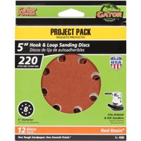 Gator Grit 5-Inch 8-Hole Hook And Loop Sanding Discs, 220 Grit, 12-Pack
