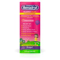 Children's Benadryl Allergy Plus Congestion Liquid, Grape, 4 fl. oz