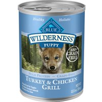 Blue Buffalo Wilderness High Protein Grain Free, Natural Puppy Wet Dog Food, Turkey & Chicken Grill (Various Sizes)