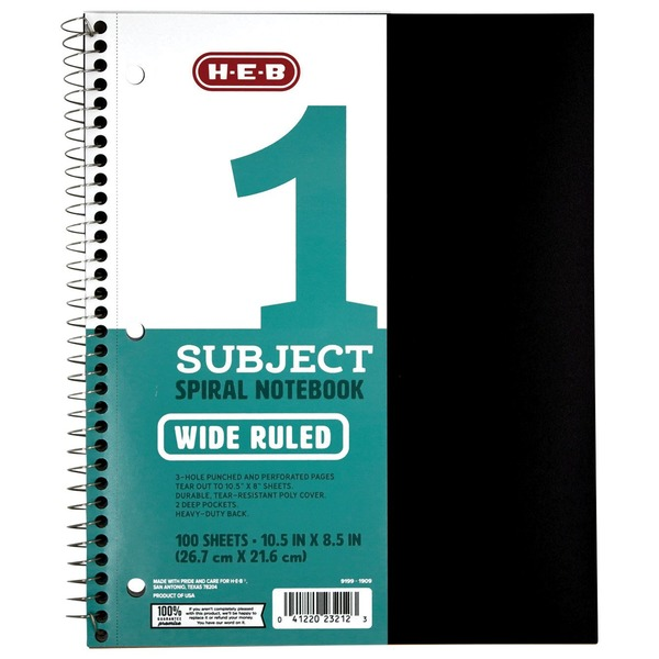 H-E-B 1 Subject Black Poly Wide-Ruled Notebook