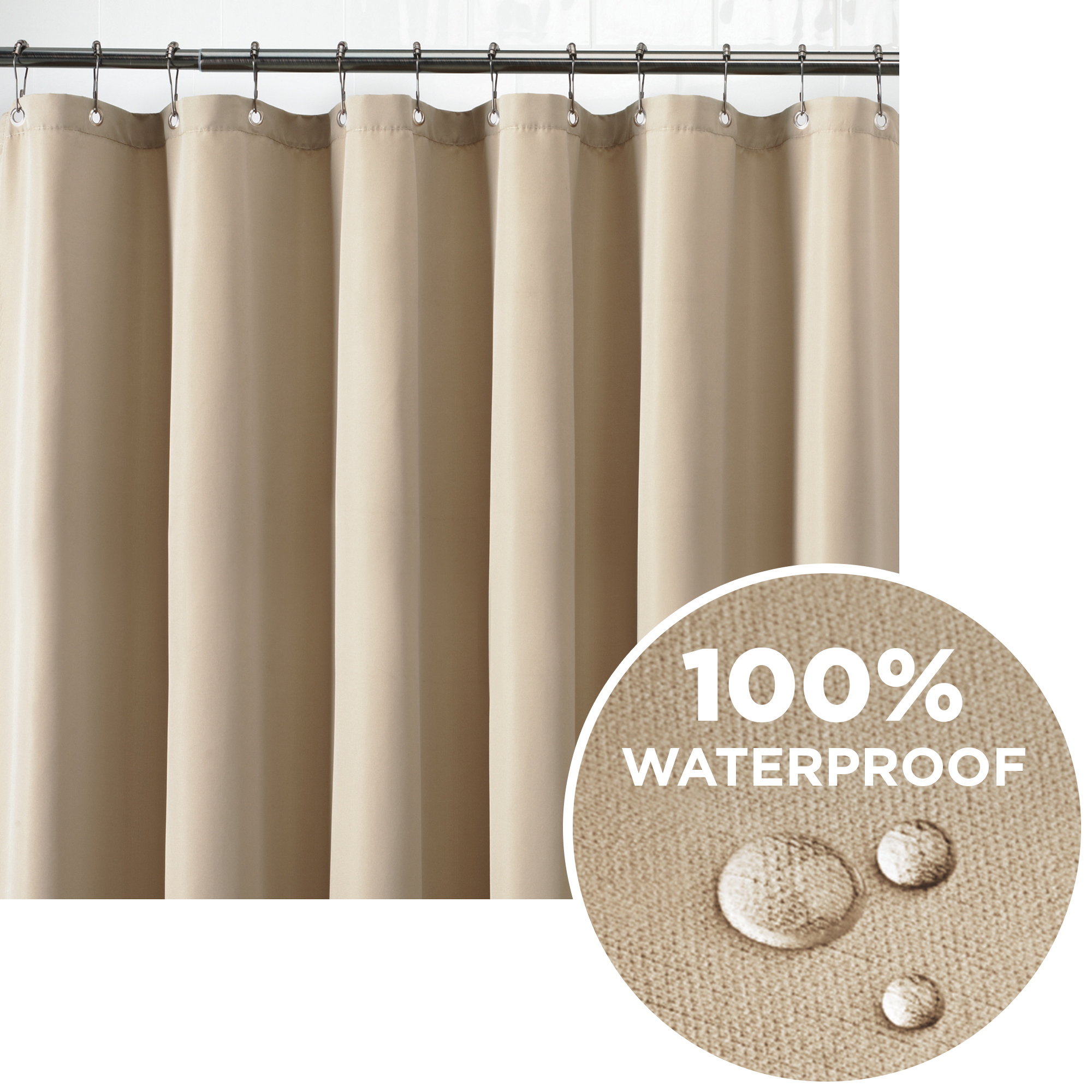 Better Homes & Gardens Ultimate Shield 100% Waterproof Machine Washable Fabric Shower Curtain Liner, Tan