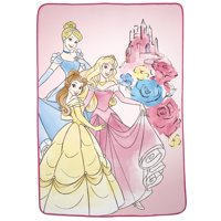 "Disney Princesses Plush Blanket, Kids Bedding, 62""x90"", Cinderella, Aurora, Belle"