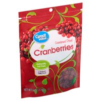 Great Value Sweetened Dried Cranberries, 6 oz