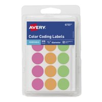 "Avery Color-Coding Labels, Removable, Assorted Neon, 3/4"" Round, 315 Labels"