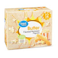Great Value Butter Flavored Microwave Popcorn, 2.40 Oz., 12 Count
