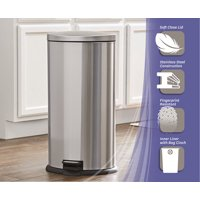 Better Homes & Gardens 7.9 Gal / 30L Oval Step Trash Can with Lid, Stainless Steel