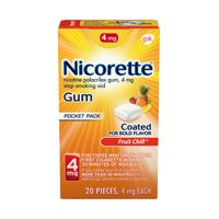 Nicorette Nicotine Coated Gum to Stop Smoking, 4mg, Fruit Chill Flavor - 20 Count