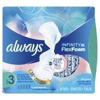 ALWAYS Infinity, Size 3, Extra Heavy Sanitary Pads with Wings, Unscented, 14 Count