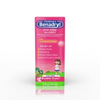 Children's Benadryl Antihistamine Allergy Liquid, Bubble Gum, 4 fl oz