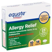 Equate All Day Allergy, Cetirizine Hydrochloride Tablets, 10 mg, Antihistamine,14 Count